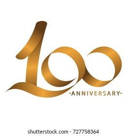 Handwriting celebrating, anniversary of number 100th year anniversary, Luxury duo tone gold brown for invitation card, backdrop, label or stationary