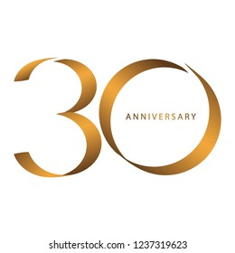 Handwriting, Celebrating, anniversary of number 30th year anniversary, birthday. Luxury duo tone gold brown for invitation card, backdrop, label, logo , advertising or stationary