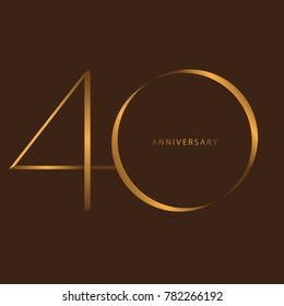 Handwriting celebrating, anniversary of number 40th year anniversary, Luxury duo tone gold brown for invitation card, birthday, backdrop, label or stationary