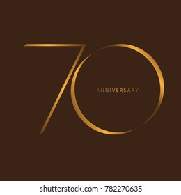 Handwriting celebrating, anniversary of number 70th year anniversary, Luxury duo tone gold brown for invitation card, birthday, backdrop, label or stationary