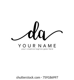 Handwriting D & A initial logo template vector