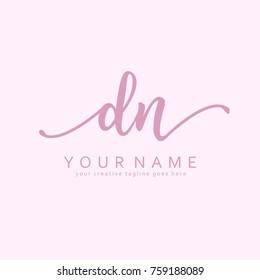 Handwriting D & N initial logo template vector