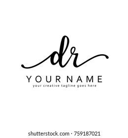 Handwriting D & R initial logo template vector