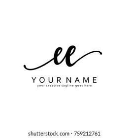 Handwriting E & E initial logo template vector