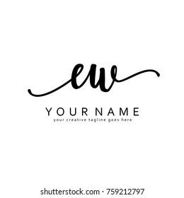 Handwriting E & W initial logo template vector