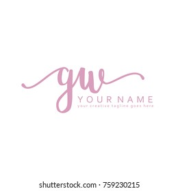 Handwriting G & W initial logo template vector