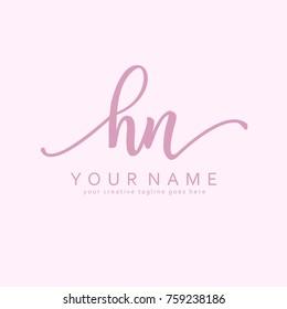 Handwriting H & N initial logo template vector