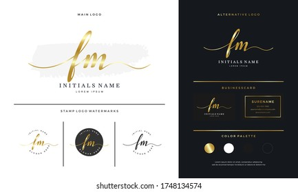 handwriting Initial of letter FM F M beauty logo on gold color design template. Feminine branding luxury template - Vector