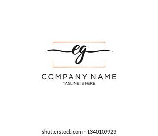 EG handwriting initial  logo vector