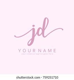 Handwriting J & D initial logo template vector