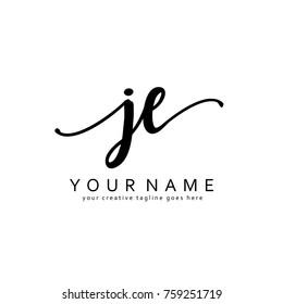 Handwriting J & E initial logo template vector