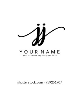 Handwriting J & J initial logo template vector