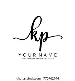 Handwriting K & P initial logo template vector