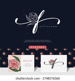 handwriting letter F logo design with rose for beauty or botanical. Feminine style vector template