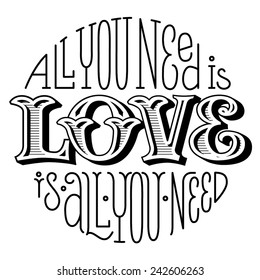 handwriting lettering all you need is love