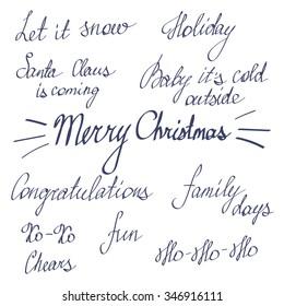 Handwriting happy new year merry christmas stock vector royalty handwriting lettering happy new year and merry christmas set phrases words m4hsunfo
