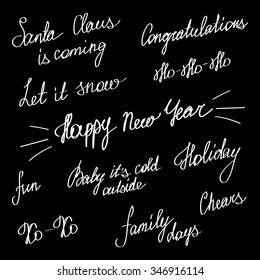 handwriting lettering happy new year and merry christmas set phrases words