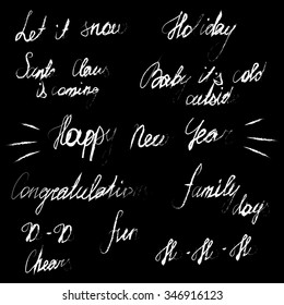 Handwriting lettering happy new year merry stock vector royalty handwriting lettering happy new year and merry christmas set phrases words m4hsunfo
