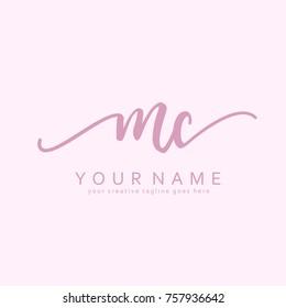 Handwriting M & C initial logo template vector