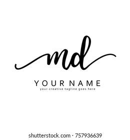 Handwriting M & D initial logo template vector