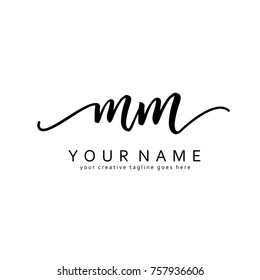 Handwriting M & M initial logo template vector