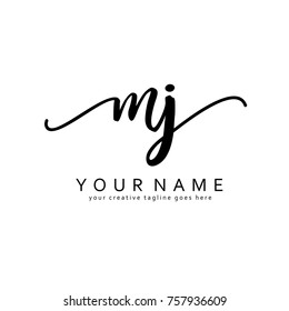 Handwriting M & J initial logo template vector