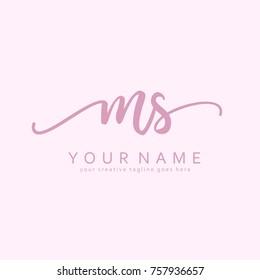 Handwriting M & S initial logo template vector
