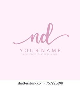 Handwriting N & D initial logo template vector