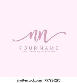 Handwriting N & N initial logo template vector