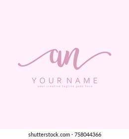 Handwriting A & N initial logo template vector