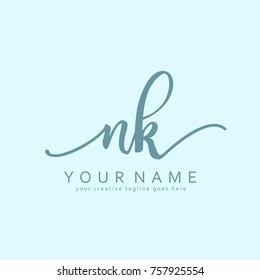 Handwriting N & K initial logo template vector