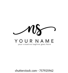 Handwriting N & S initial logo template vector