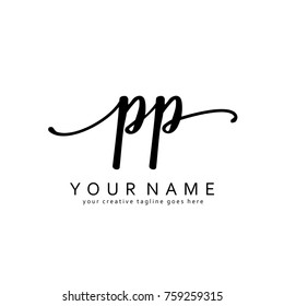 Handwriting P & P initial logo template vector