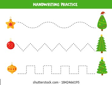 Handwriting practice with Christmas trees and baubles. Tracing lines for kids.