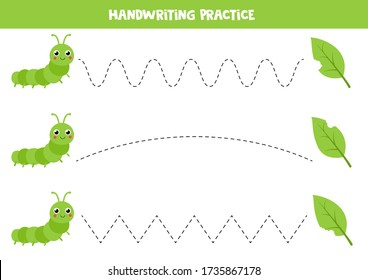 Handwriting practice with cute cartoon caterpillar and leaves. Tracing lines for preschool children. earn to write and to draw. Educational worksheet for kids.