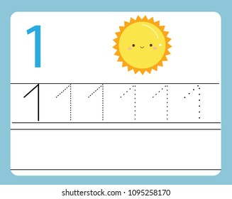 Handwriting practice. Learning numbers with cute characters. Number one. Educational printable worksheet for kids and toddlers with tracing lines