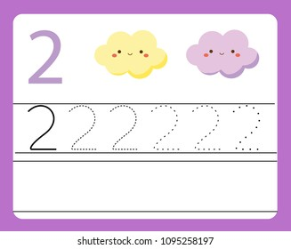 Handwriting practice. Learning numbers with cute characters. Number two. Educational printable worksheet for kids and toddlers with tracing lines