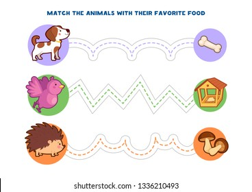 Handwriting practice. Match the animals with their favorite food. Educational children game. Vector illustration