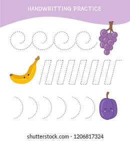 Handwriting practice sheet. Basic writing. Educational game for children.  Cartoon instruments.Cartoon fruits.