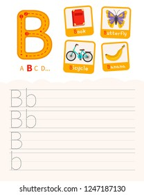 Handwriting practice sheet. Basic writing. Educational game for children. Learning the letters of the English alphabet. Cards with objects. Letter B.