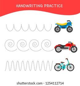 Handwriting practice sheet. Basic writing. Educational game for children. Cartoon transport.
