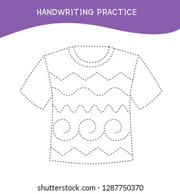 Handwriting practice sheet. Basic writing. Educational game for children.  Cartoon t-shirt.