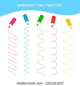 Handwriting practice sheet. Basic writing. Educational game for children.  Cartoon pencils.