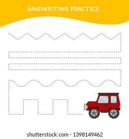 Handwriting practice sheet. Basic writing. Educational game for children.  Cartoon red car.