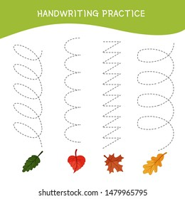 Handwriting practice sheet. Basic writing. Educational game for children.  Cartoon leafs.