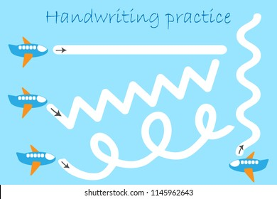 Handwriting practice sheet, draw track of planes in cartoon style, kids preschool activity, educational children game, printable worksheet, writing training, vector illustration