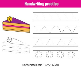 Handwriting practice sheet. Educational children game, printable worksheet for kids. Tracing lines, triangles.