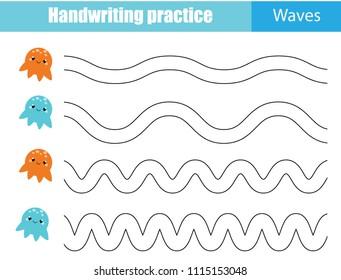 Handwriting practice sheet. Educational children game, printable worksheet for kids. Tracing Waves