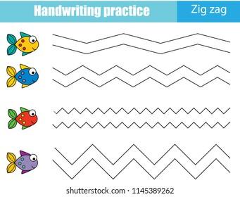 Handwriting practice sheet. Educational children game, printable worksheet for kids. Tracing zig zag lines