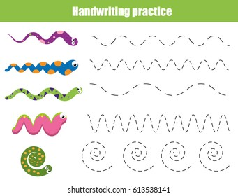Handwriting practice sheet. Educational children game, restore the dashed line. Writing training printable worksheet with with wavy lines and snakes